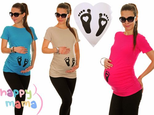 Maternity Pregnancy Baby Love Footprint Cotton T-Shirt Top