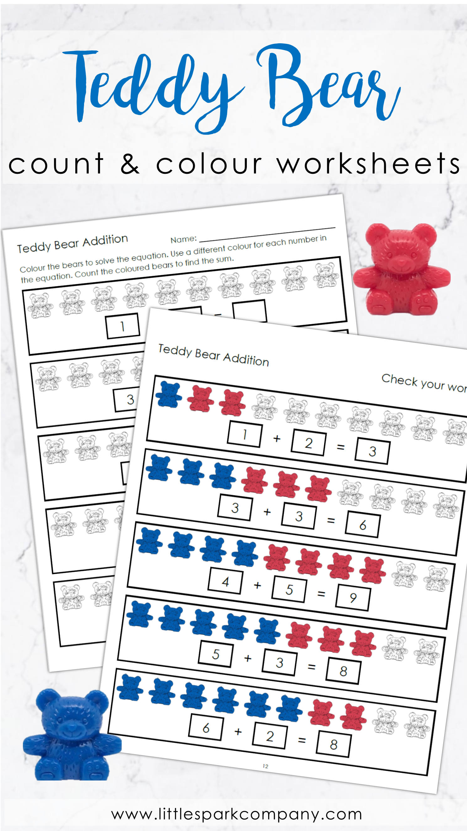 Teddy Bear Count Colour And Add Worksheet Set Sums 1 10