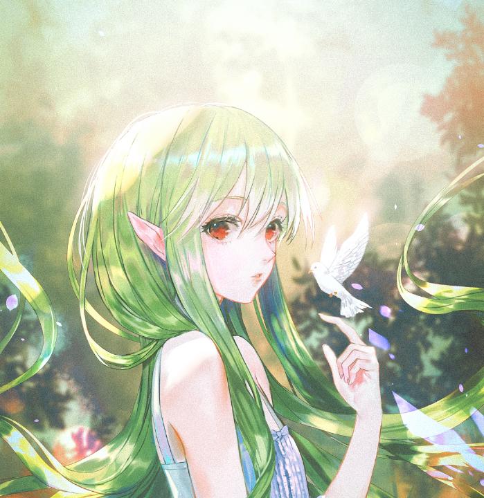 Картинки девушка с зелеными волосами аниме
