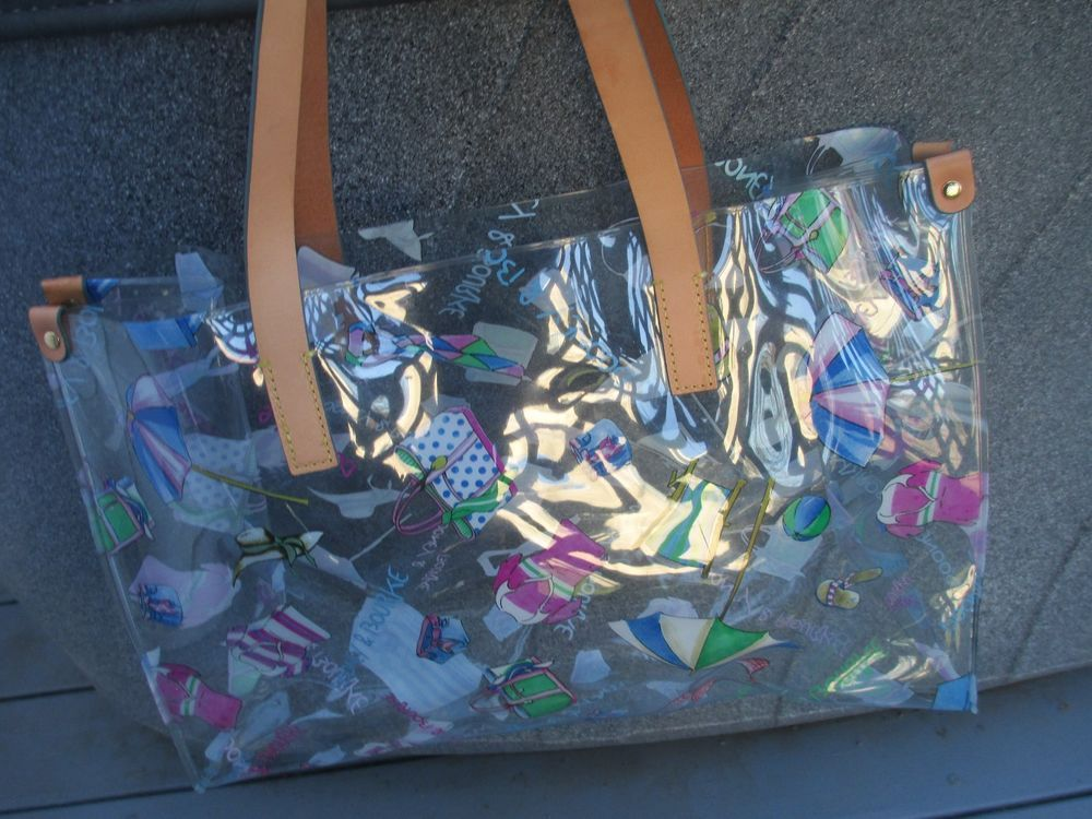 Dooney Bourke Miami Clear Vinyl Acrylic Large Tote Shopper Purse Beach Bag Dooney Bourke Dooney Bourke