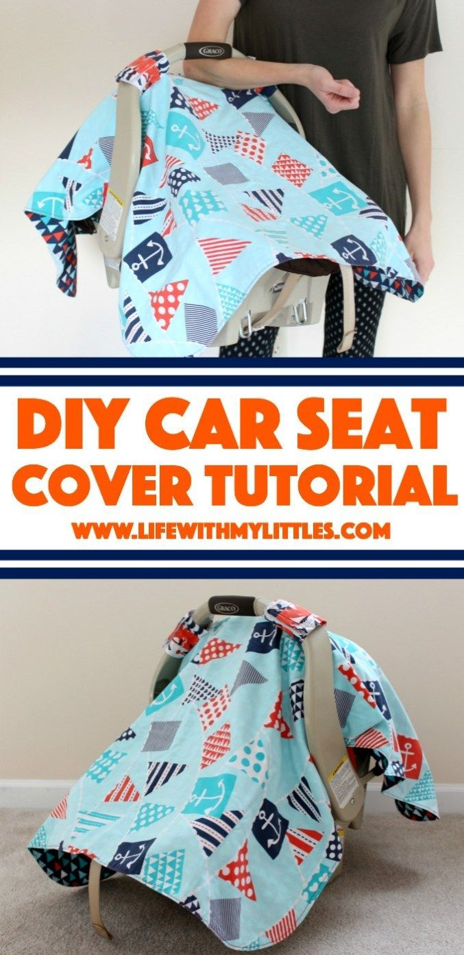 Car Seat Cover Tutorial: A cute easy canopy for your baby's car seat that is durable and looks great! #carseat #child #car #seat