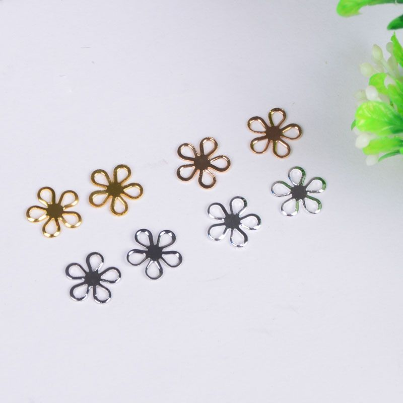 2016 Women Gold/Silver Plated Hollow small Flower Charms Connector of DIY Metal Flower Pendant Jewelry Charms 100pcs/bag