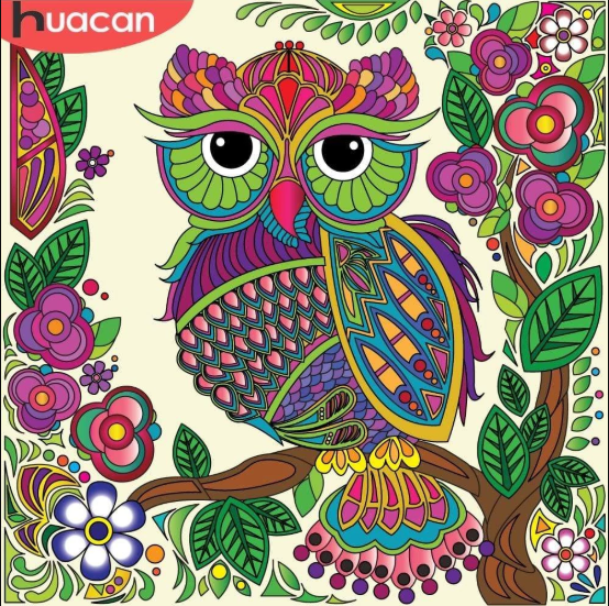 5d Diamond Painting Purple Green Owl Kit Owl Coloring Pages Owls Drawing Owl Artwork