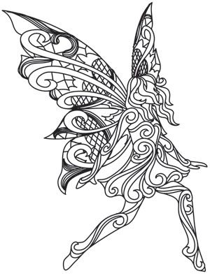 Soft lacy wings and dimensional swirl give this pretty