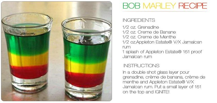 Finchersadventures Bob Marley Drink Alcohol Drinks Shots Jamaican Party