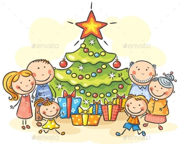 Family With A Christmas Tree And Presents Christmas Cartoons Art Drawings For Kids Family Cartoon