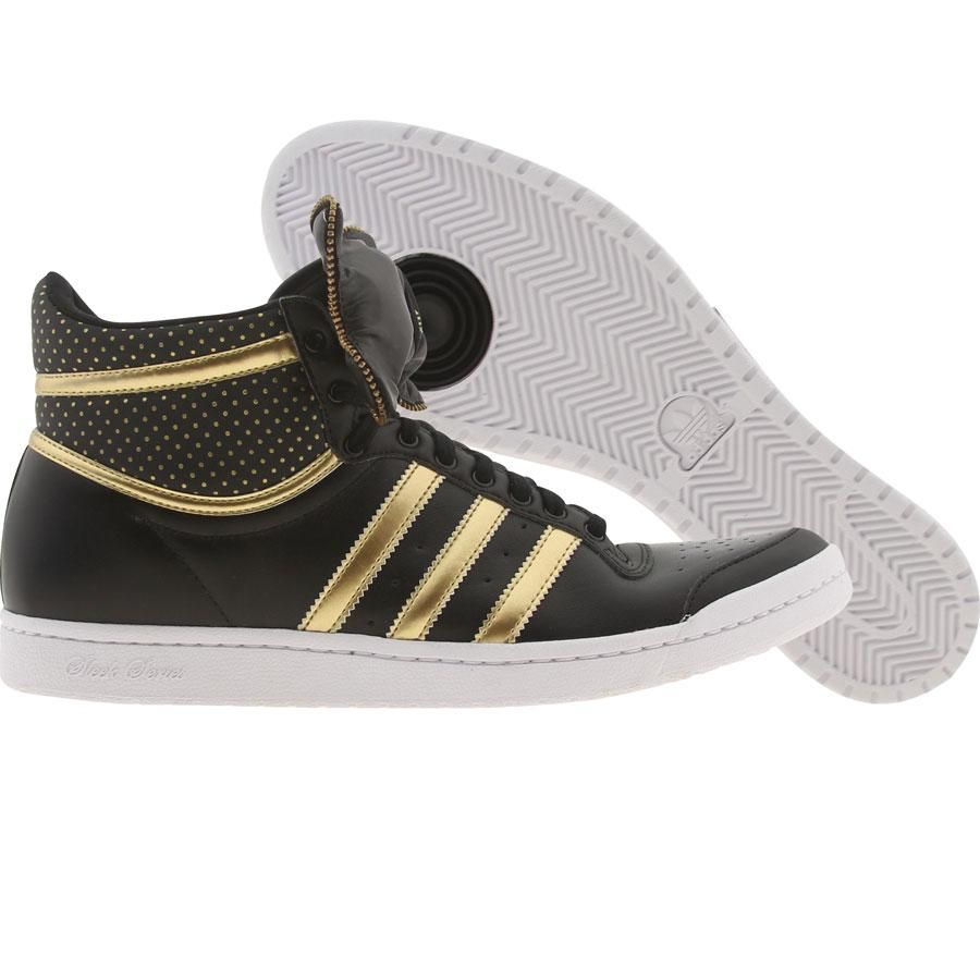Adidas Womens Top Ten High Sleek Bow Zip (black metallic gold white) Shoes  and other apparel, accessories and trends. Browse and shop 5 related looks.