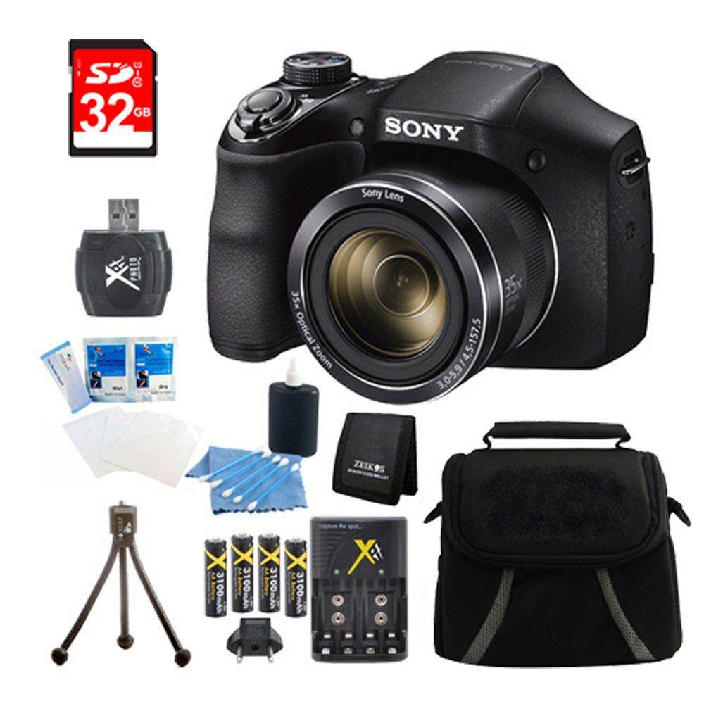 Sony DSCH300/B Digital Camera (Black) Bundle with High Speed 32GB ...