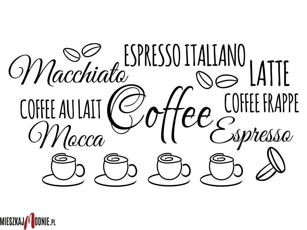 Coffee Kawa Mocca Frappe Naklejki Na Sciane Do Kuchni Math Math Equations Calligraphy