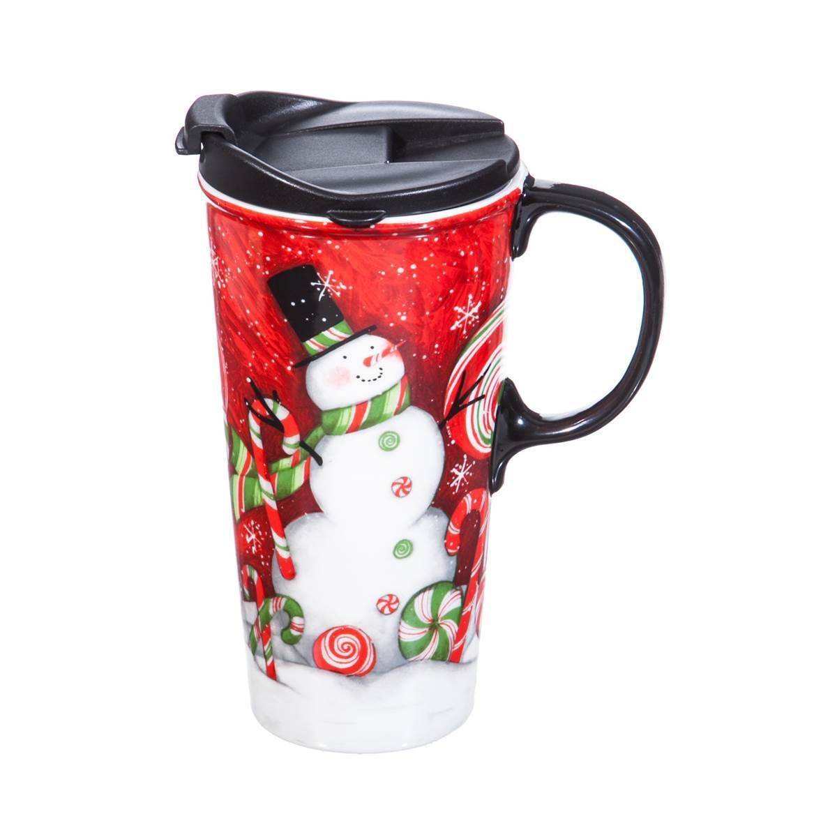 Ceramic Travel Cup, 17 oz. w/ box, Sweet Snowman
