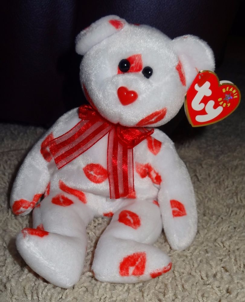 TY Beanie Baby Smooch Bear PE Pellets 2000 Valentine s Day White w Red  Kisses TH  Ty e451cd5442b8