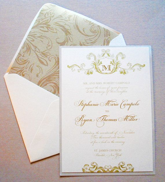 Champagne Ivory And Gold Wedding Invitations By WhimsyBDesigns, $6.00