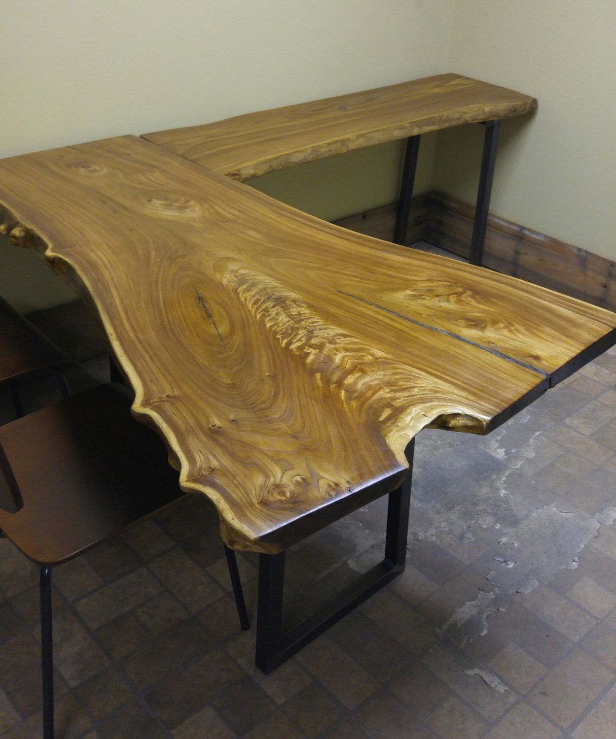 Natural edge dining table w steel hairpin legs from impact imports of - Live Edge Slab L Shaped Desks Siberian Elm And Walnut Elm Siberian Elm Walnut Black Walnut Tables Desk Live Edge Desk Slab Desk Slab Table Live Edge