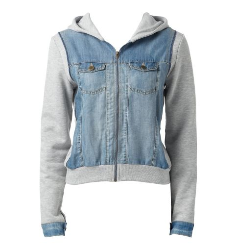 DENIM HOODED SWEATER JACKEt
