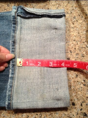 shorten jeans using original hem