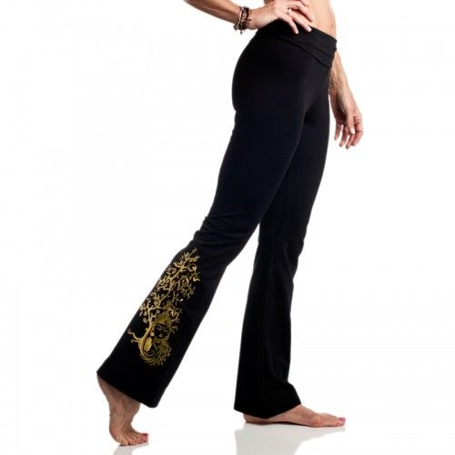Gold Buddha Yoga Pants - affordable yoga pants that aren't see through! Features unique gold foil Buddha print on leg.  http://www.nativesons.com/lightelephant/bottoms/light-elephant-gold-buddha-yoga-pants.html