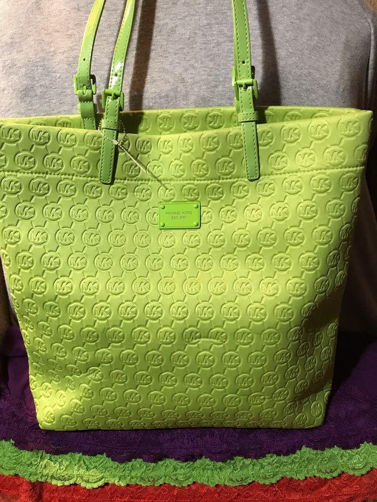 1f38a778e7 Handbag Michael Kors Monogram Neoprene Jet Set Neon Green Shoulder Bag Tote   MichaelKors  ShoulderBagTote