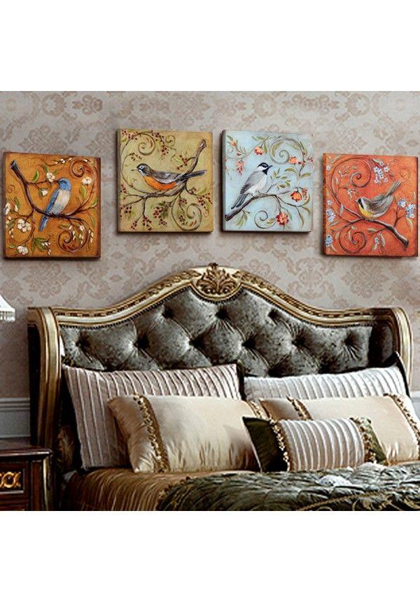 Sin marco 4 Paneles pájaros Vintage Retoing europa Home Decor pared ...