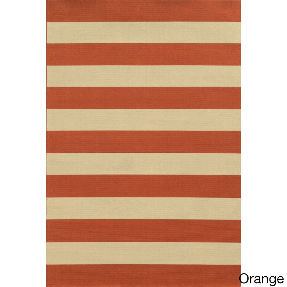 "Style Haven Indoor/ Outdoor Stripe Rug (2'5 x 4'5) (Orange), Ivory, Size 1'9"" x 3'9"" (Olefin, Geometric)"