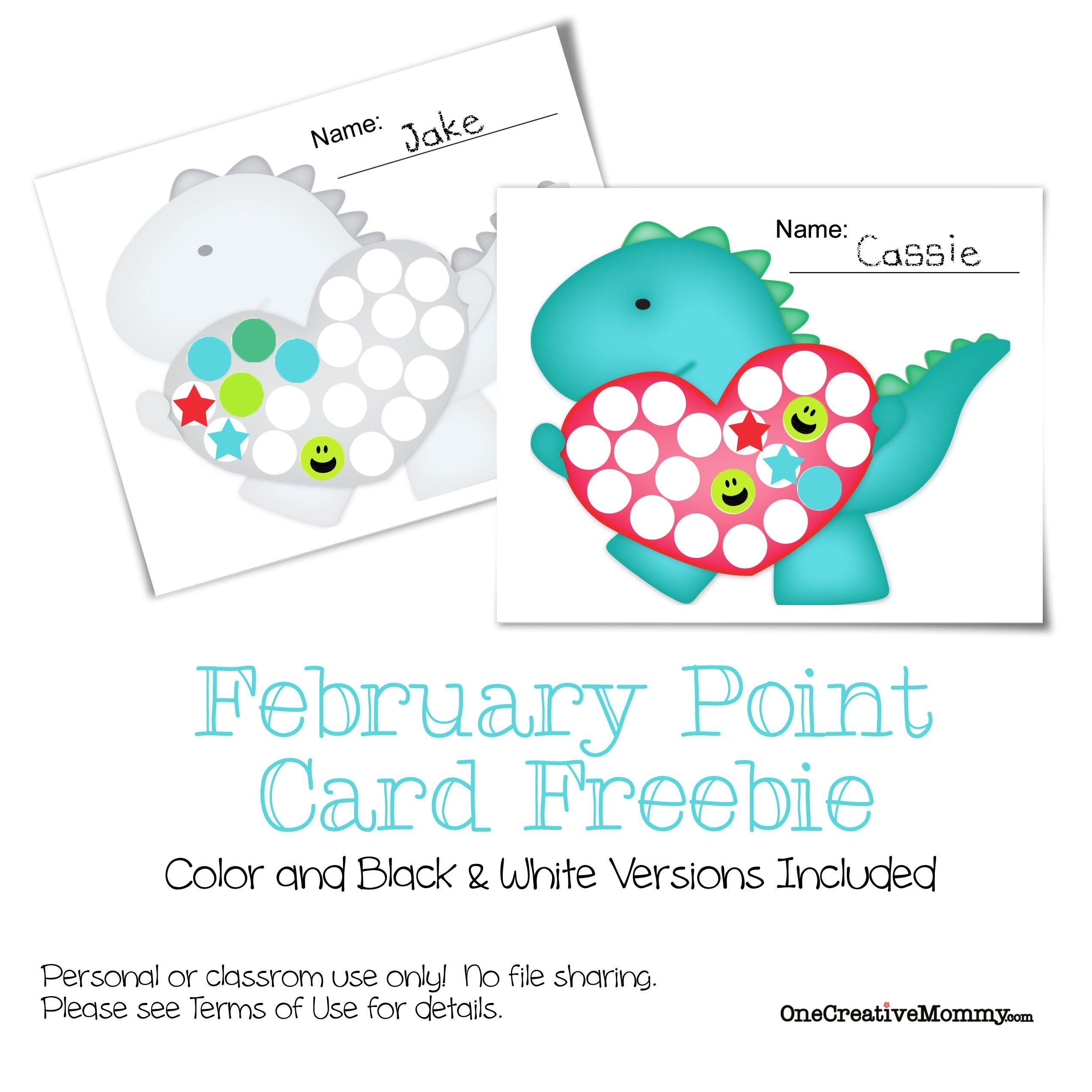 February motivational point card freebie kids cards cards