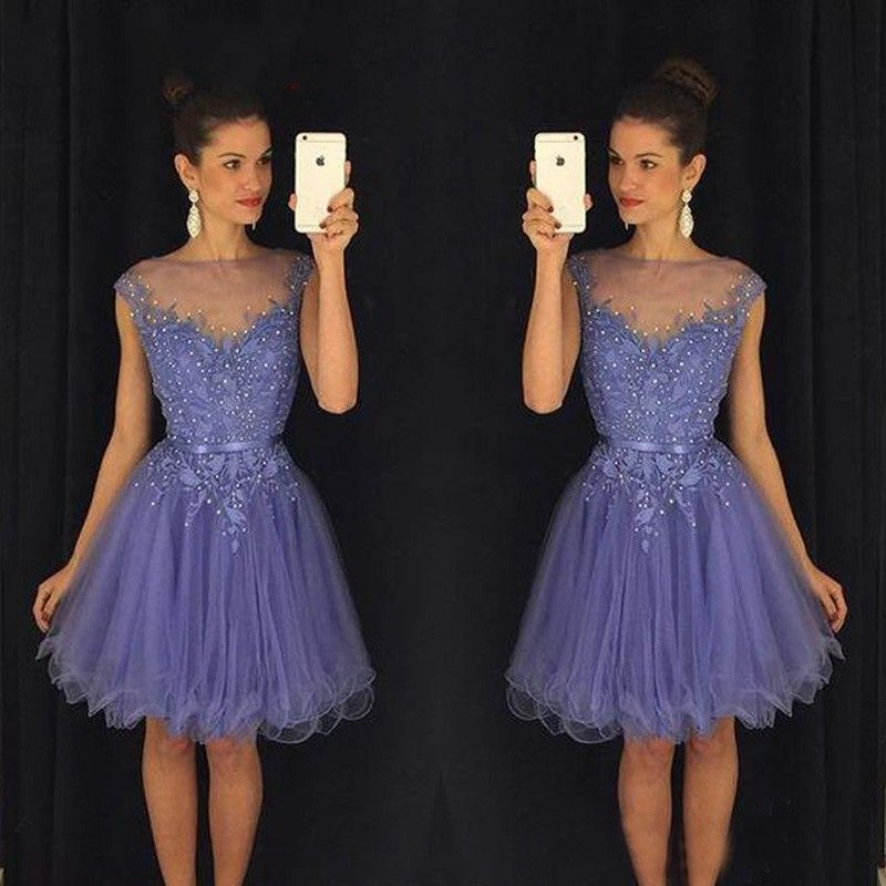 Hot Sale A Line Knee Length Appliques Beaded Homecoming Dress Short ...