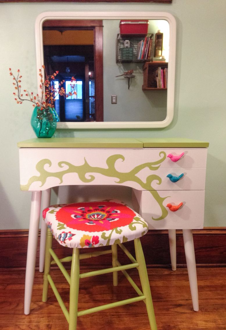 Vintage sewing machine cabinet turned vanity...created by me, The Alchemystic Artist