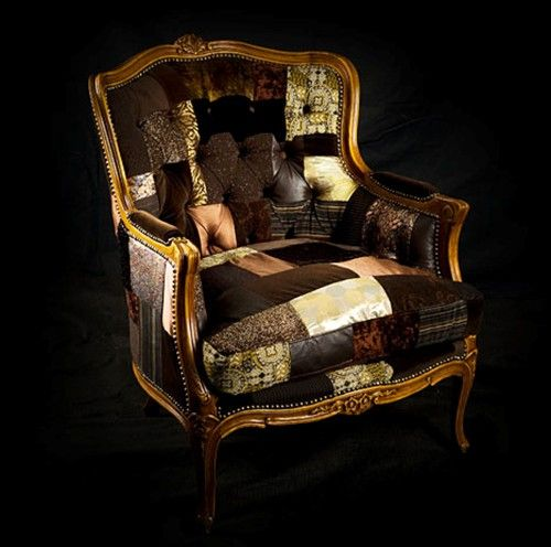 ...old pieces of furniture reupholstered in old quilts and vintage fabrics….fun look….