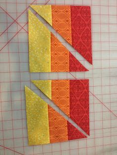 That Crazy Quilty Girl: Glorious Autumn: Pumpkin Patch(work) Tutorial. Very interesting way to set striped corners on a plain, on-point block.