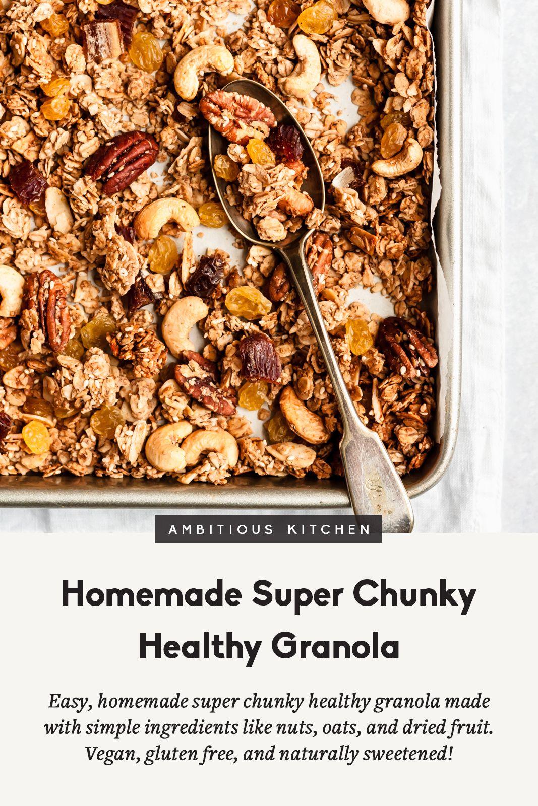 Homemade Super Chunky Healthy Granola Vegan Gluten Free