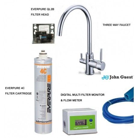 Everpure Water Filtration System With 4c Filter Cartridge Digital Multi Filter Monitor And Three Way Faucet 10003025
