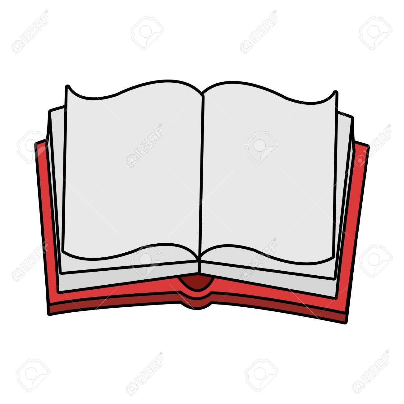 Opened Book Over White Background Vector Illustration