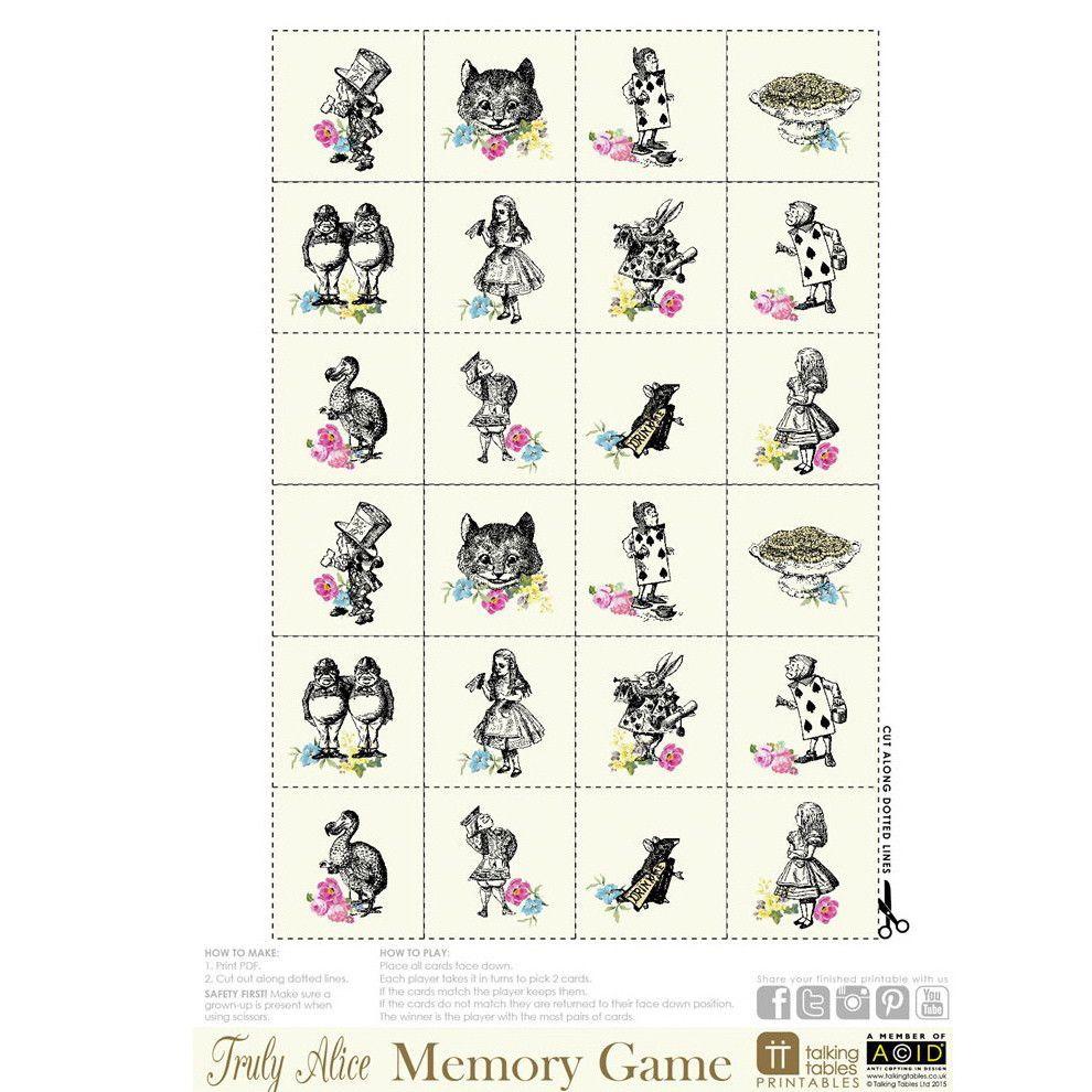 Truly Alice Free Printable Memory Game in 2020 Alice