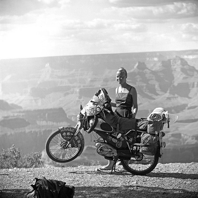 Apparently this photo is from 1958 featuring a woman with her motorbike fro the …
