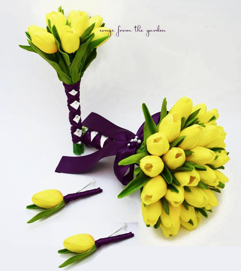 Real Touch Tulips Bridal Bridesmaid Bouquet Yellow Plum with Groom