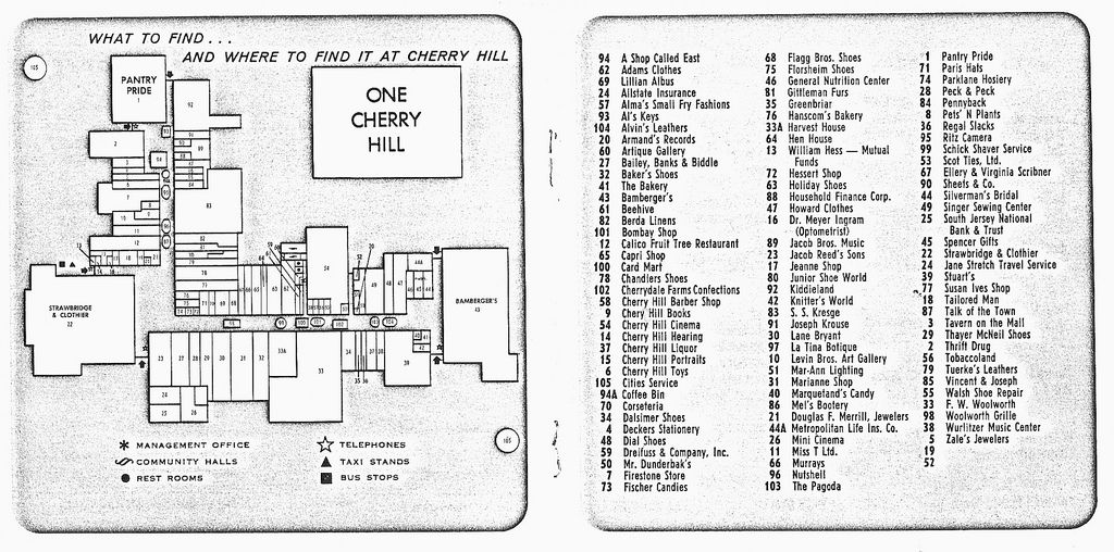 Cherry Hill Mall Map From Brochure | Retail of Yesterday! | Cherry on