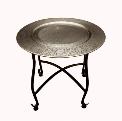 The Yellow Door Round Morrcan Table With Silver Top Wrought Iron