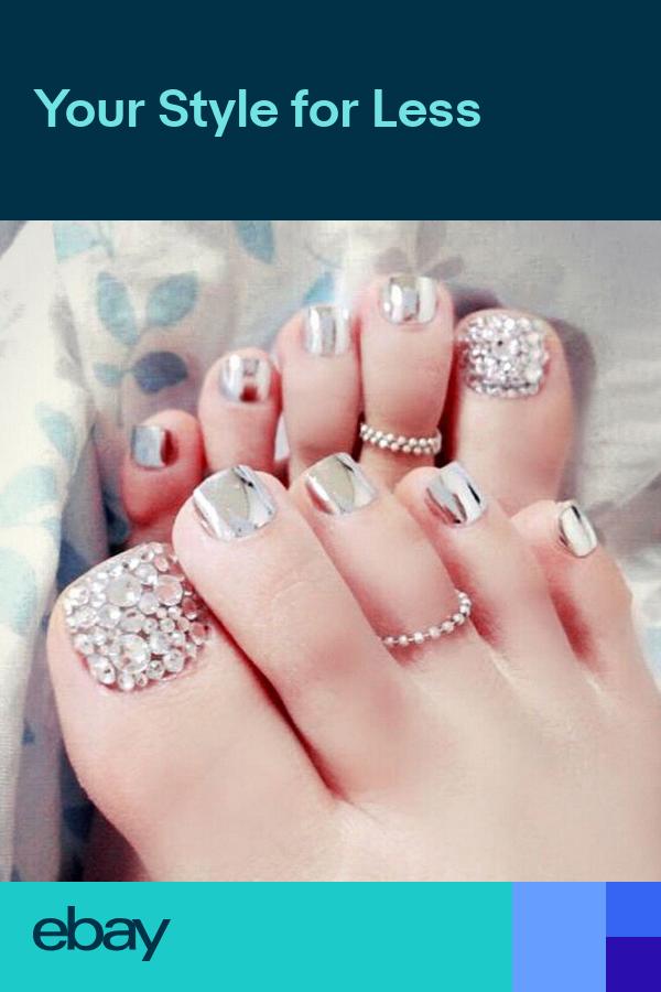 24x Charming Foot False Nail Tips Glitter Rhinestone Fake Toes Nails With Uk Toe Nails Glue On Nails Feet Nail Design