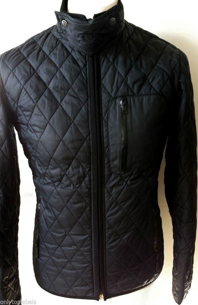 Henri Lloyd Quilted Jacket Mens Size S Slim Fit Black Designer Coat