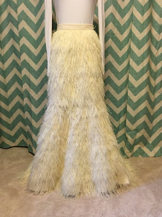 bb01d57672f4 Full Length Ostrich Feather Skirt with Train Wedding Long