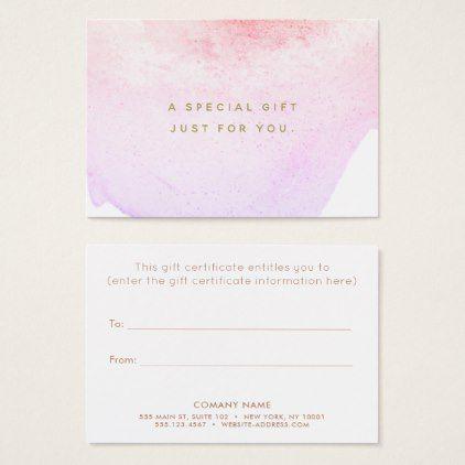 Watercolor Beauty Salon Spa Gift Certificate Zazzle Com S