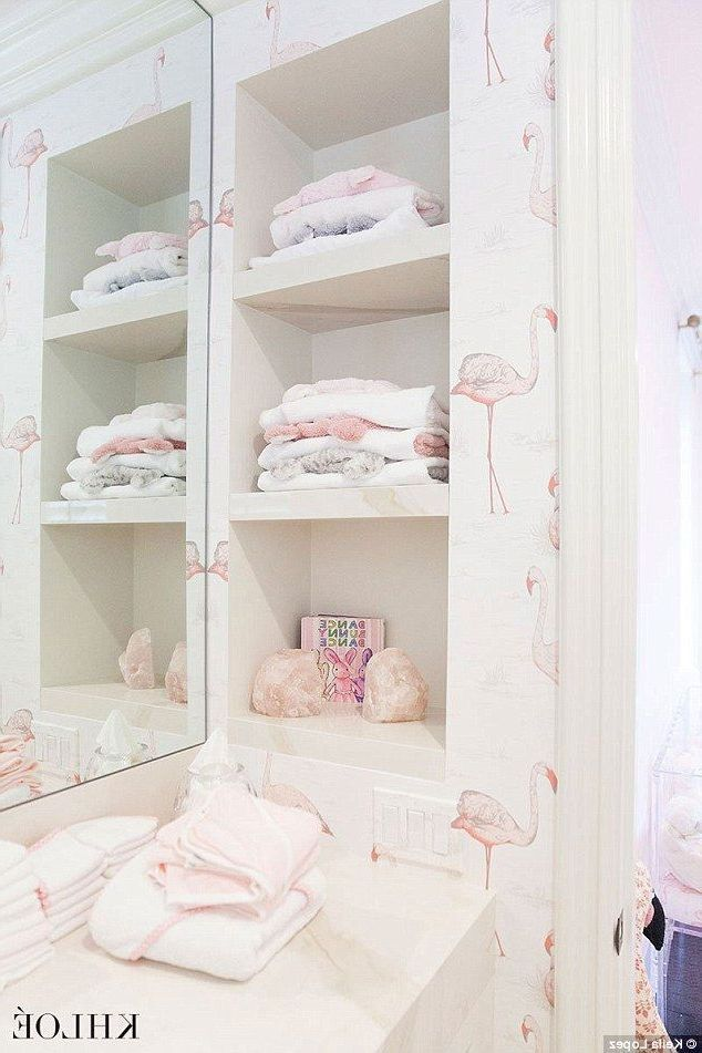 Khloe Kardashian's baby changing room features a trendy pink and white wallp...,...,  #baby #... #khloekardashian