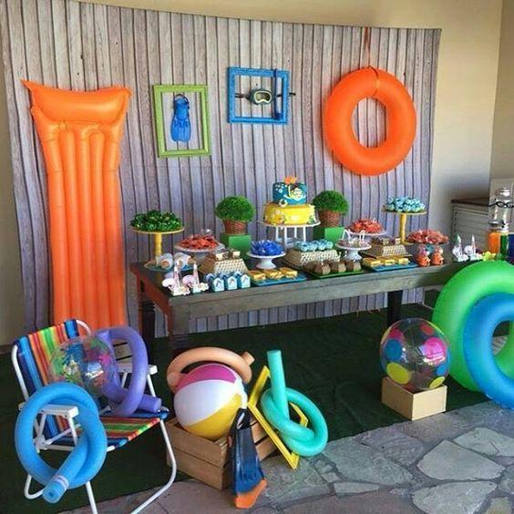 Fiesta en alberca para ni os fiesta en piscina decoracion for Ideas para cumpleanos en piscina