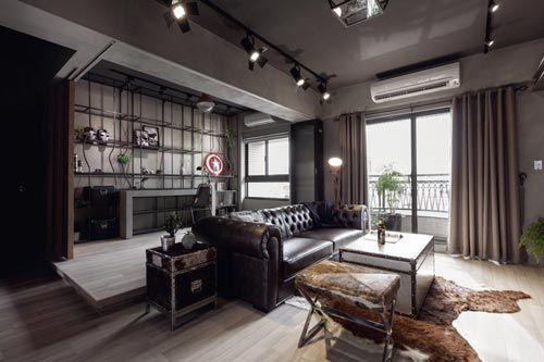 Eenvoudige Industrieel Woonkamer : Stoere woonkamer met open kantoor industrieel interieur