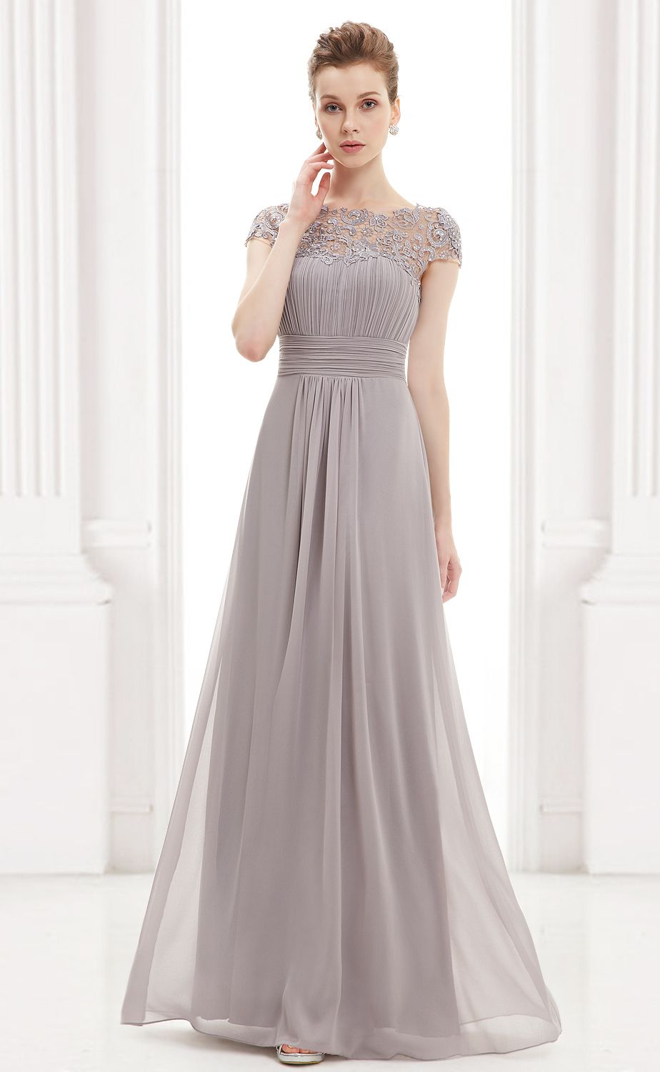 Cap sleeve evening gown with lace gray lace evening gowns and gowns cap sleeve evening gown with lace grey bridesmaid dressesgrey ombrellifo Images