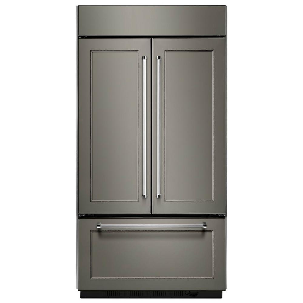Kitchenaid 24 2 Cu Ft Built In French Door Refrigerator In Panel Ready Platinum Interior Kbfn502epa French Door Refrigerator Built In Refrigerator Kitchen Aid