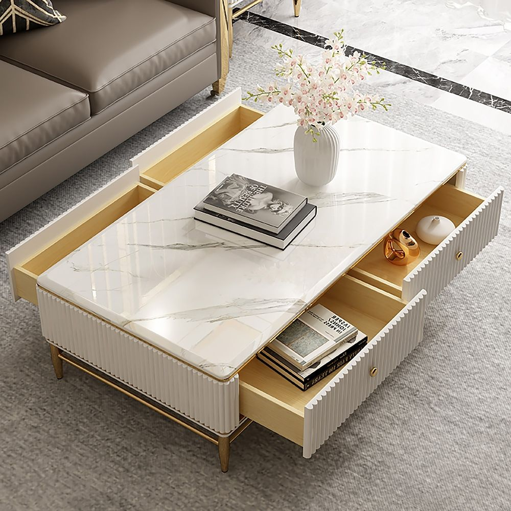 Couchtisch Weiss Aus Kunstmarmor Mit Aufbewahrung 4 Schubladen In 2021 Coffee Table Rectangle Coffee Table Faux Marble Coffee Table [ 1000 x 1000 Pixel ]