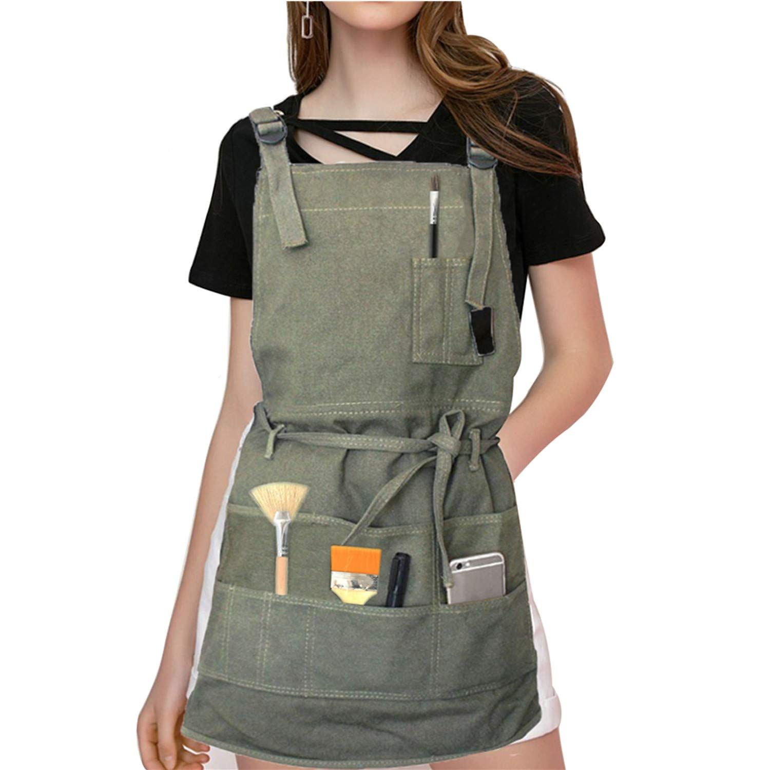 Artist Apron Painting Apron Pockets Painters Canvas Aprons With