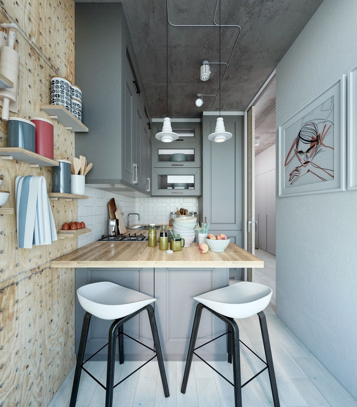 Minimalist design is the best design for kitchen you can apply scandinavian style to match it