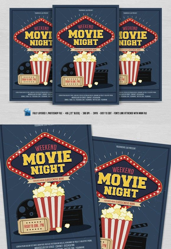 Movie Night Flyer  Flyer Templates    Flyer Template