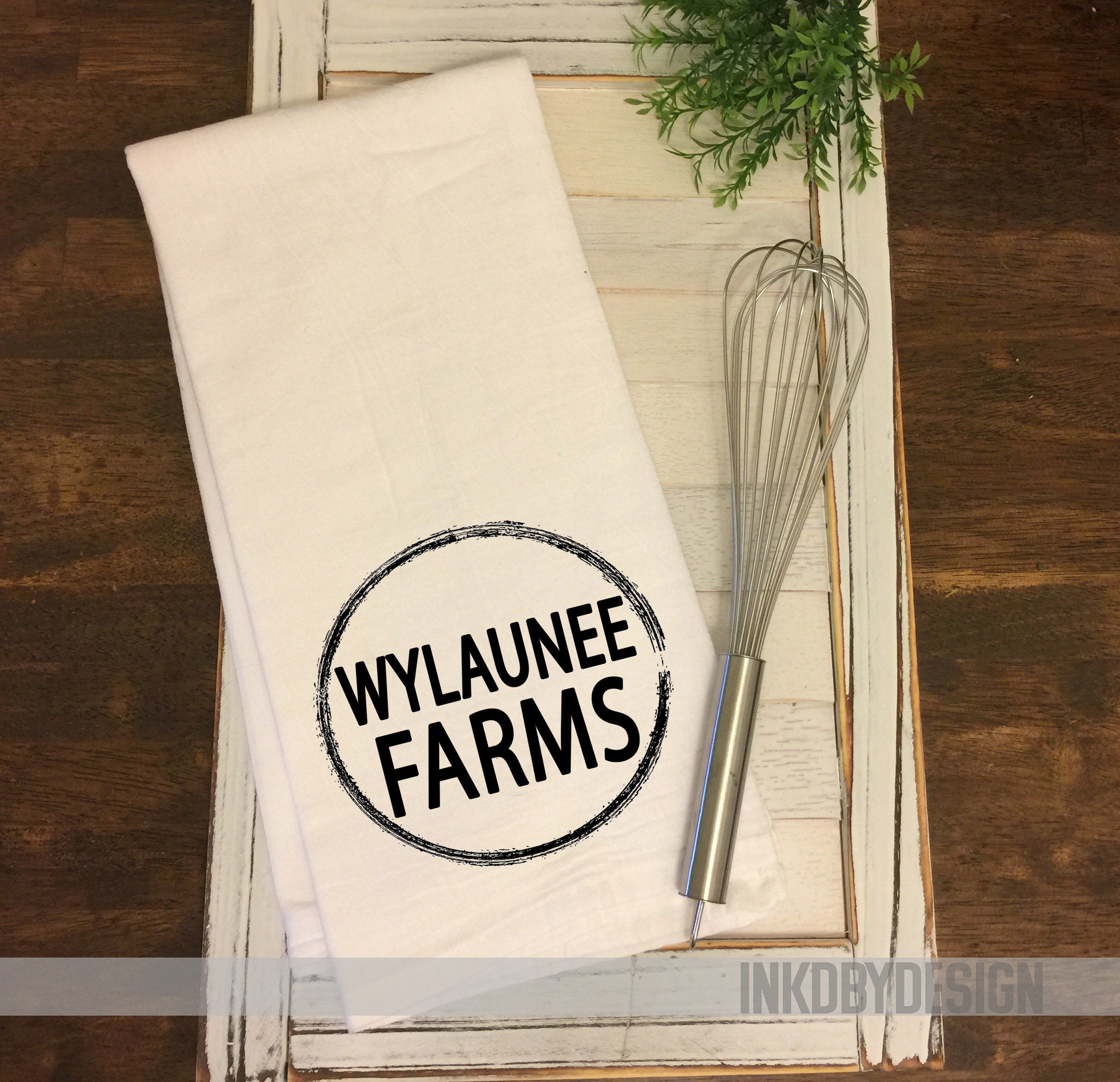 Cow Tag Farm Name Custom Sack Dish Towel Farmer Friend Gift